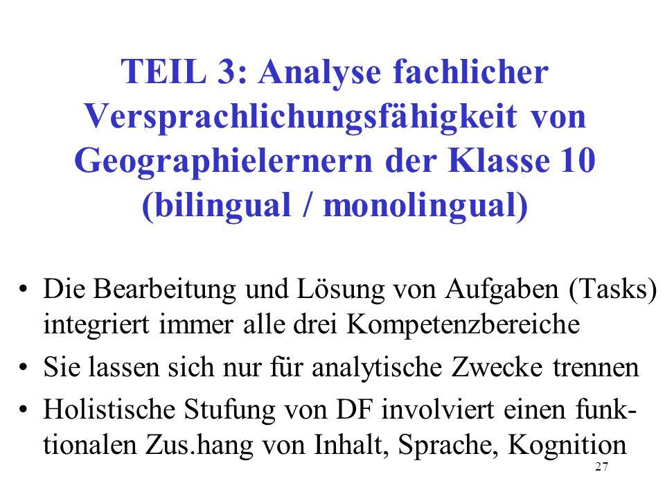 TEIL 3: Analyse fachlicher Versprachlichungsfähigkeit von Geographielernern der Klasse 10 (bilingual / monolingual)
