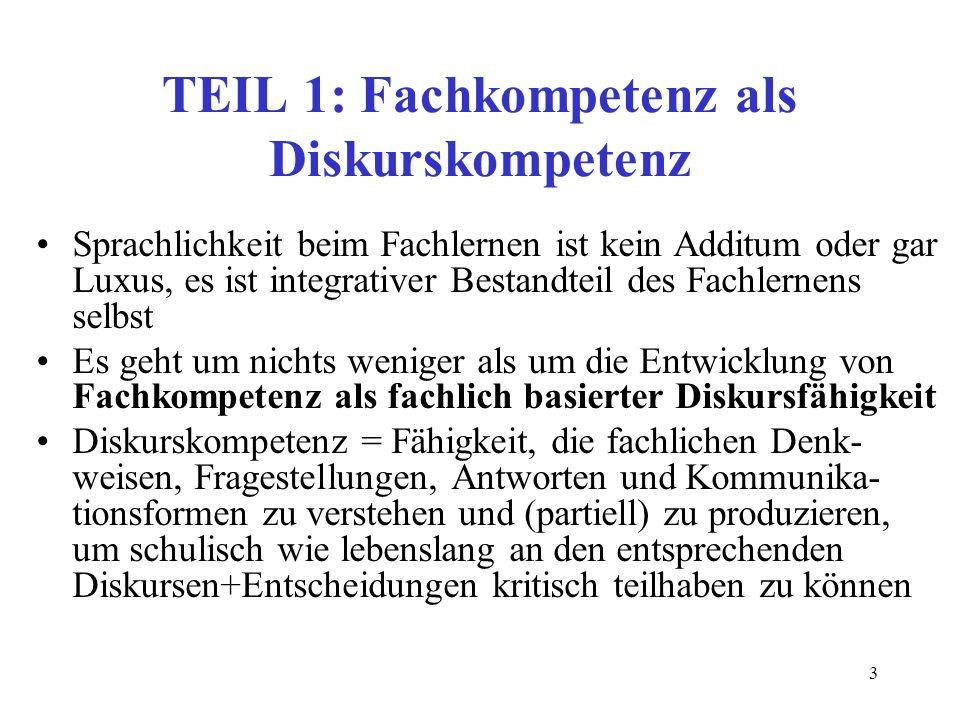 TEIL 1: Fachkompetenz als Diskurskompetenz
