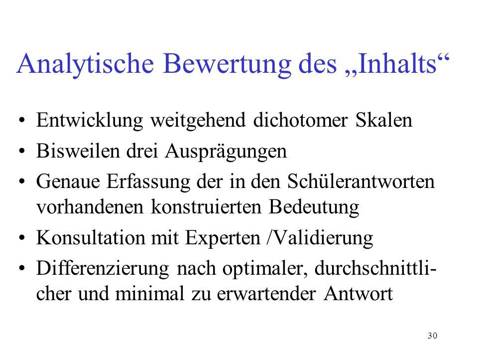 """Analytische Bewertung des """"Inhalts"""