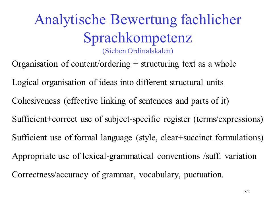 Analytische Bewertung fachlicher Sprachkompetenz (Sieben Ordinalskalen)