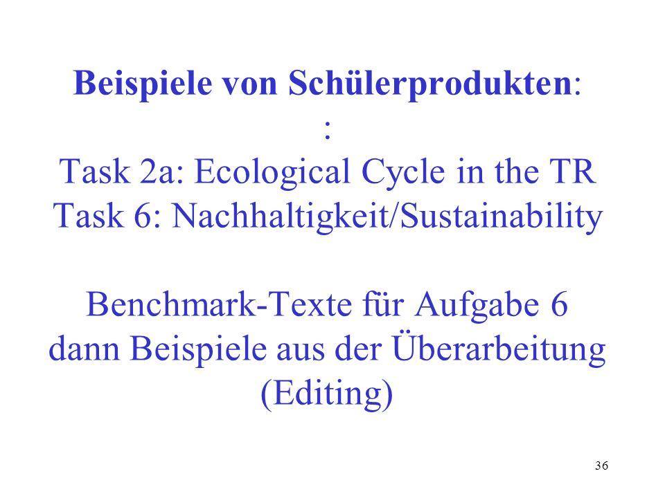 Beispiele von Schülerprodukten: : Task 2a: Ecological Cycle in the TR Task 6: Nachhaltigkeit/Sustainability Benchmark-Texte für Aufgabe 6 dann Beispiele aus der Überarbeitung (Editing)