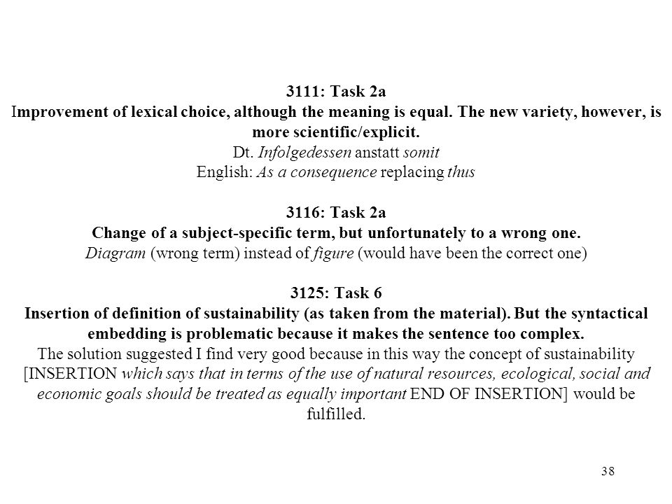 3111: Task 2a Improvement of lexical choice, although the meaning is equal.