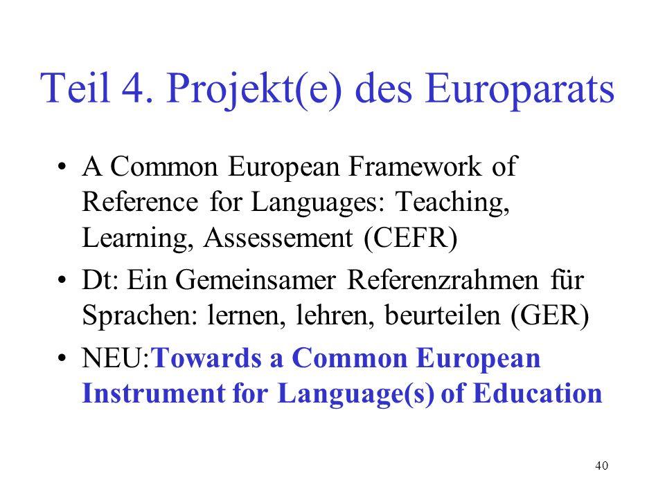 Teil 4. Projekt(e) des Europarats