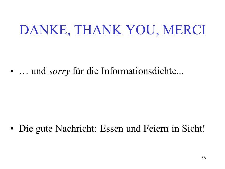 DANKE, THANK YOU, MERCI … und sorry für die Informationsdichte...