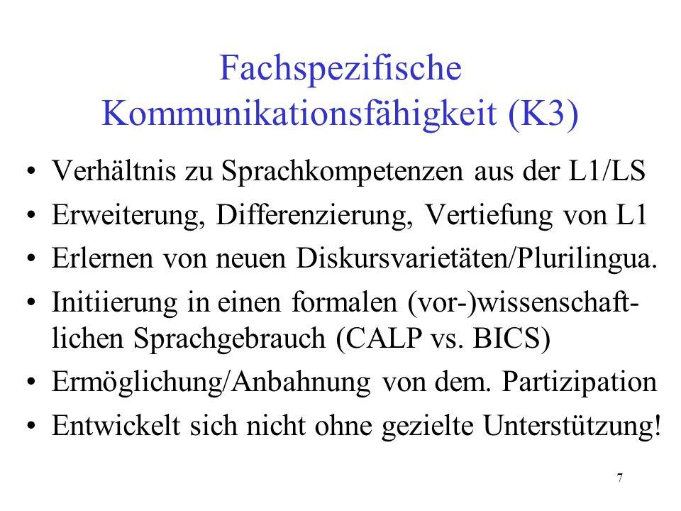 Fachspezifische Kommunikationsfähigkeit (K3)