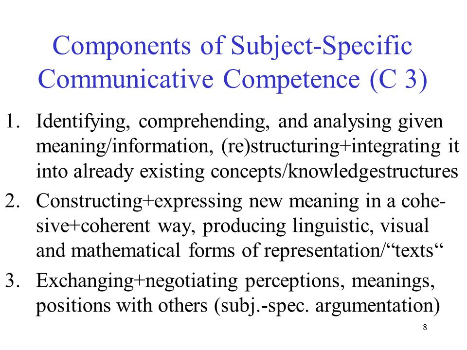 Components of Subject-Specific Communicative Competence (C 3)