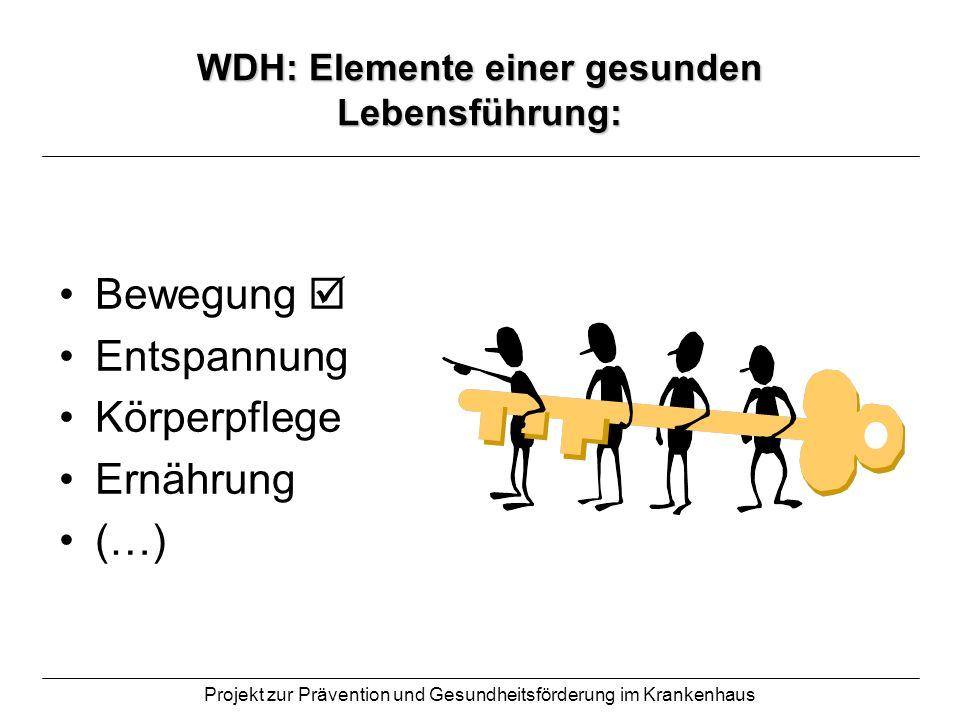 WDH: Elemente einer gesunden Lebensführung: