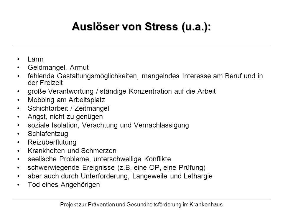 Auslöser von Stress (u.a.):