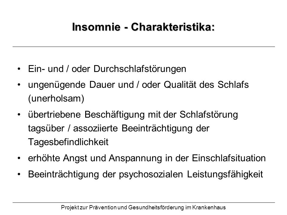 Insomnie - Charakteristika:
