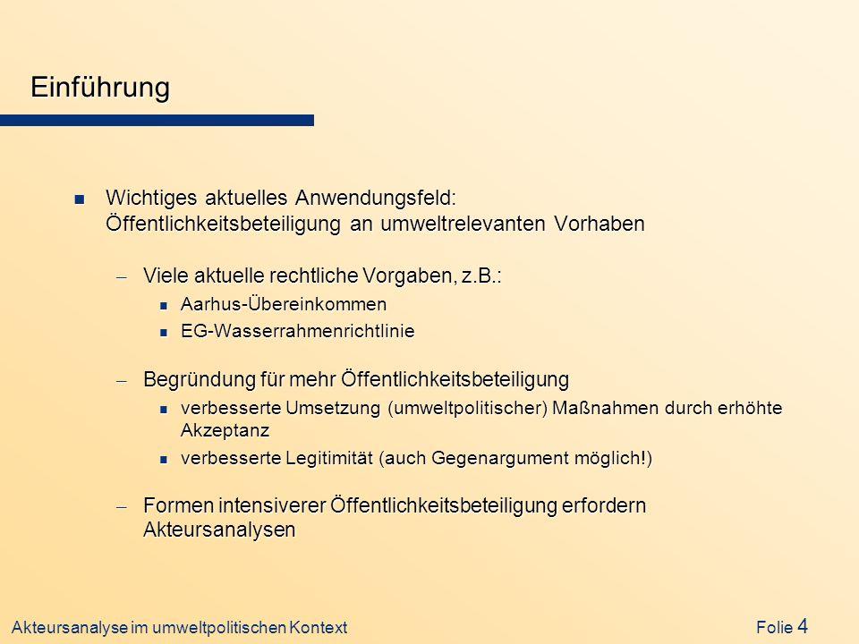 Einführung Wichtiges aktuelles Anwendungsfeld: Öffentlichkeitsbeteiligung an umweltrelevanten Vorhaben.