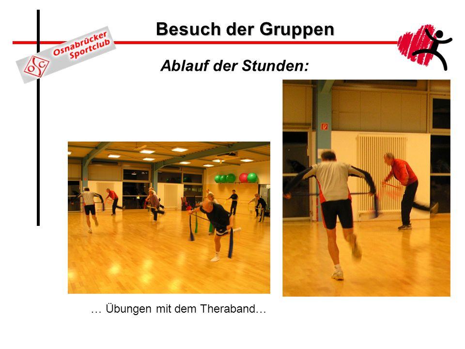 Besuch der Gruppen Ablauf der Stunden: … Übungen mit dem Theraband…