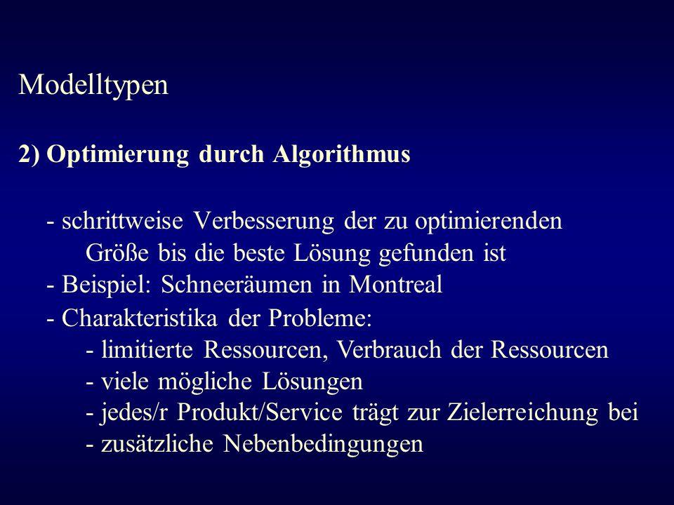 Modelltypen 2) Optimierung durch Algorithmus. - schrittweise Verbesserung der zu optimierenden Größe bis die beste Lösung gefunden ist.