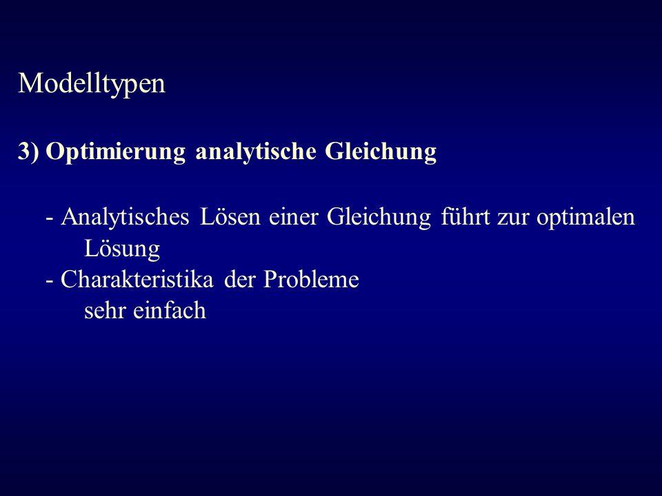- Analytisches Lösen einer Gleichung führt zur optimalen Lösung