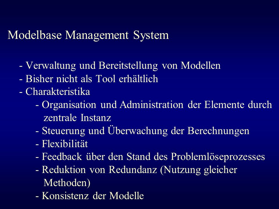 Modelbase Management System