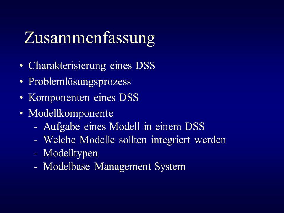 Zusammenfassung Charakterisierung eines DSS Problemlösungsprozess