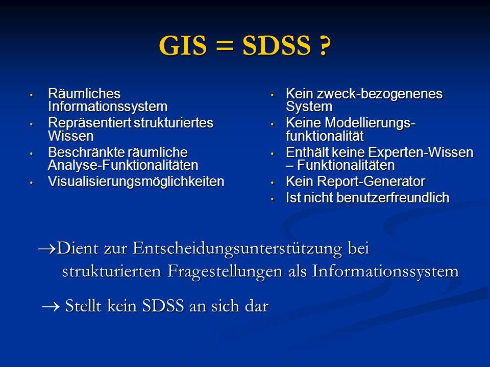 GIS = SDSS Dient zur Entscheidungsunterstützung bei