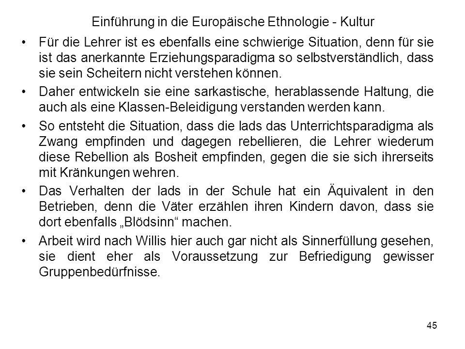 Einführung in die Europäische Ethnologie - Kultur