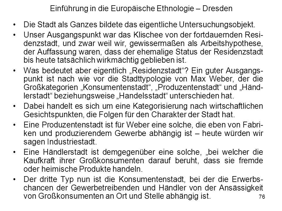 Einführung in die Europäische Ethnologie – Dresden