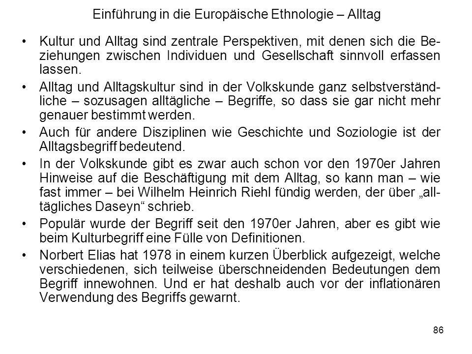 Einführung in die Europäische Ethnologie – Alltag