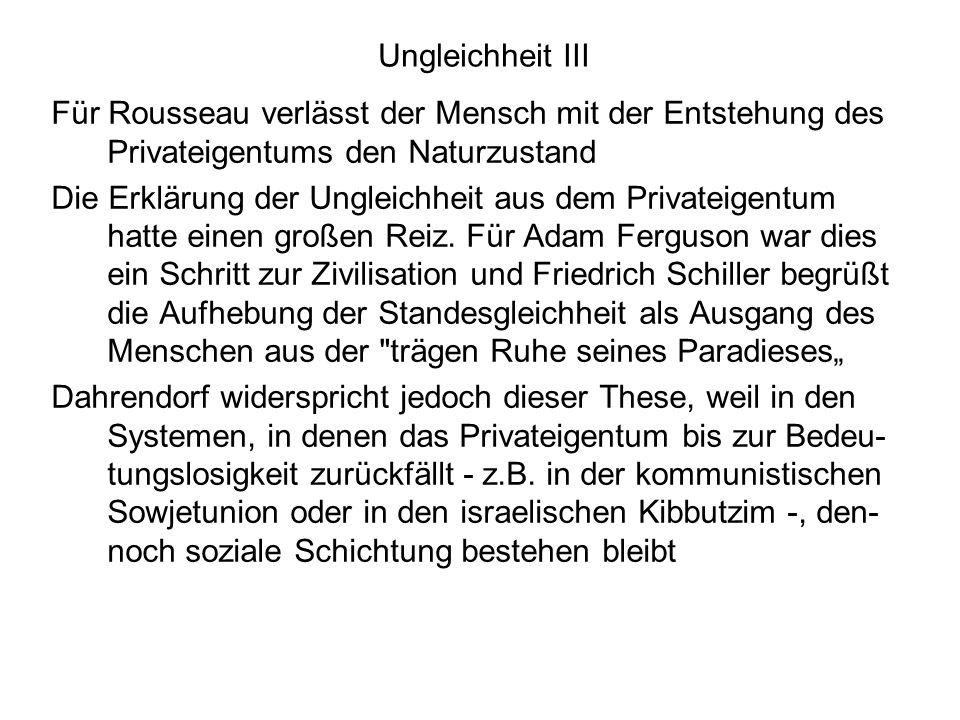 Ungleichheit III Für Rousseau verlässt der Mensch mit der Entstehung des Privateigentums den Naturzustand.