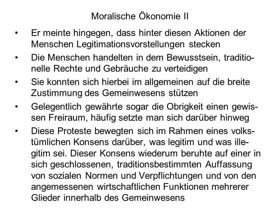 Moralische Ökonomie II