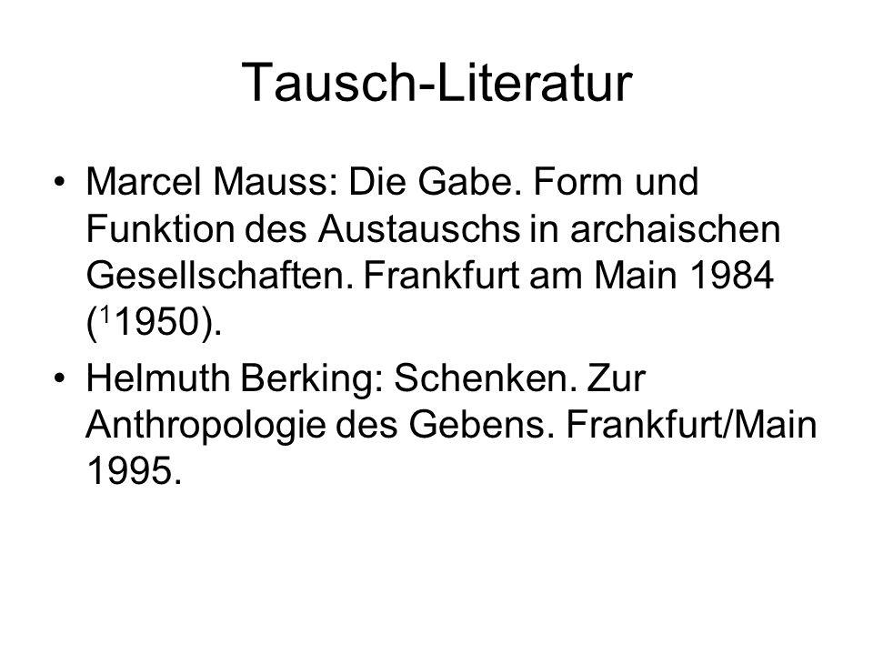 Tausch-Literatur Marcel Mauss: Die Gabe. Form und Funktion des Austauschs in archaischen Gesellschaften. Frankfurt am Main 1984 (11950).