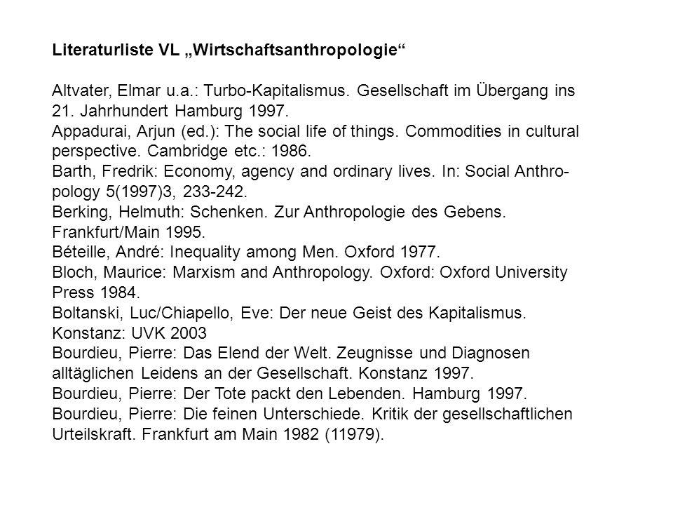 """Literaturliste VL """"Wirtschaftsanthropologie"""