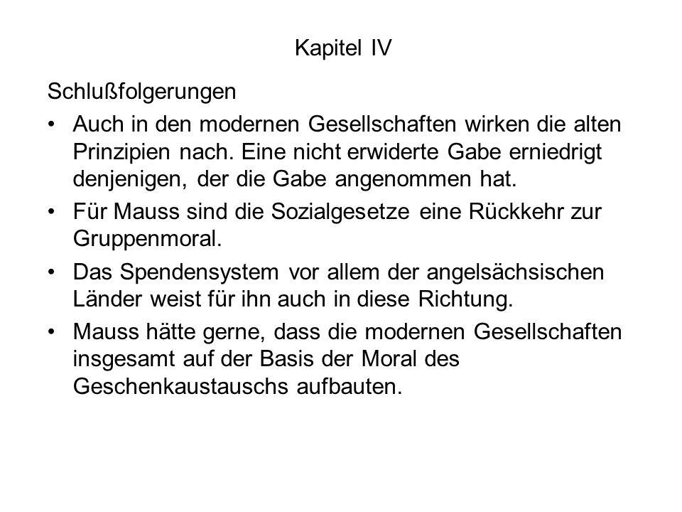 Kapitel IV Schlußfolgerungen.