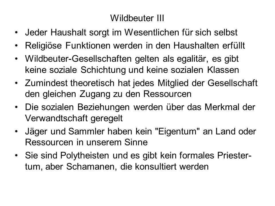 Wildbeuter III Jeder Haushalt sorgt im Wesentlichen für sich selbst. Religiöse Funktionen werden in den Haushalten erfüllt.