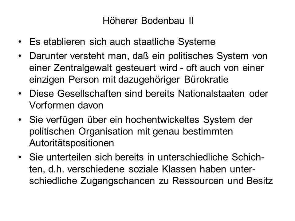 Höherer Bodenbau II Es etablieren sich auch staatliche Systeme.