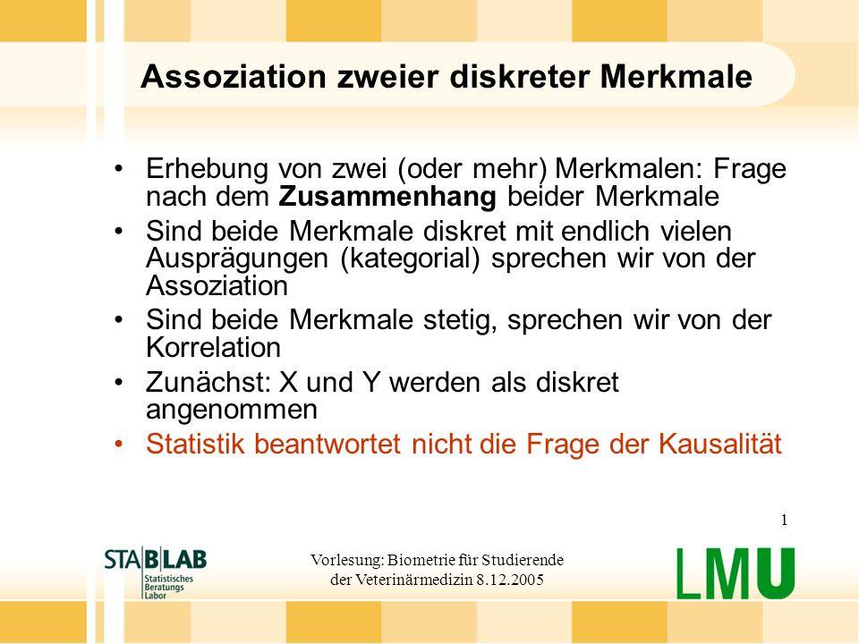 Vorlesung: Biometrie für Studierende der Veterinärmedizin 8.12.2005