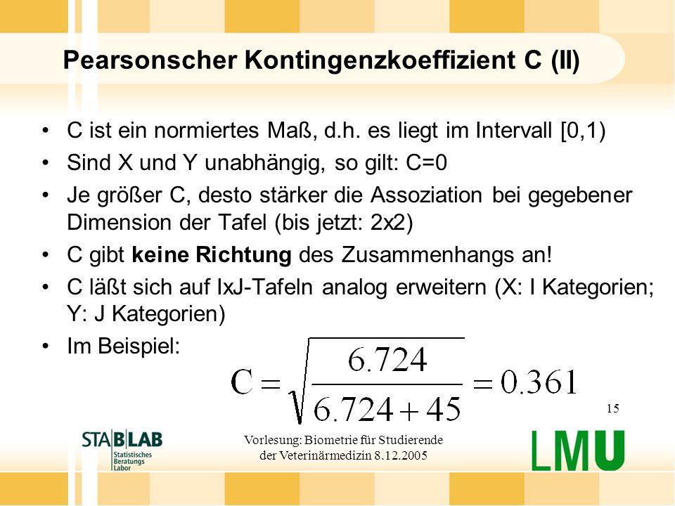 Pearsonscher Kontingenzkoeffizient C (II)