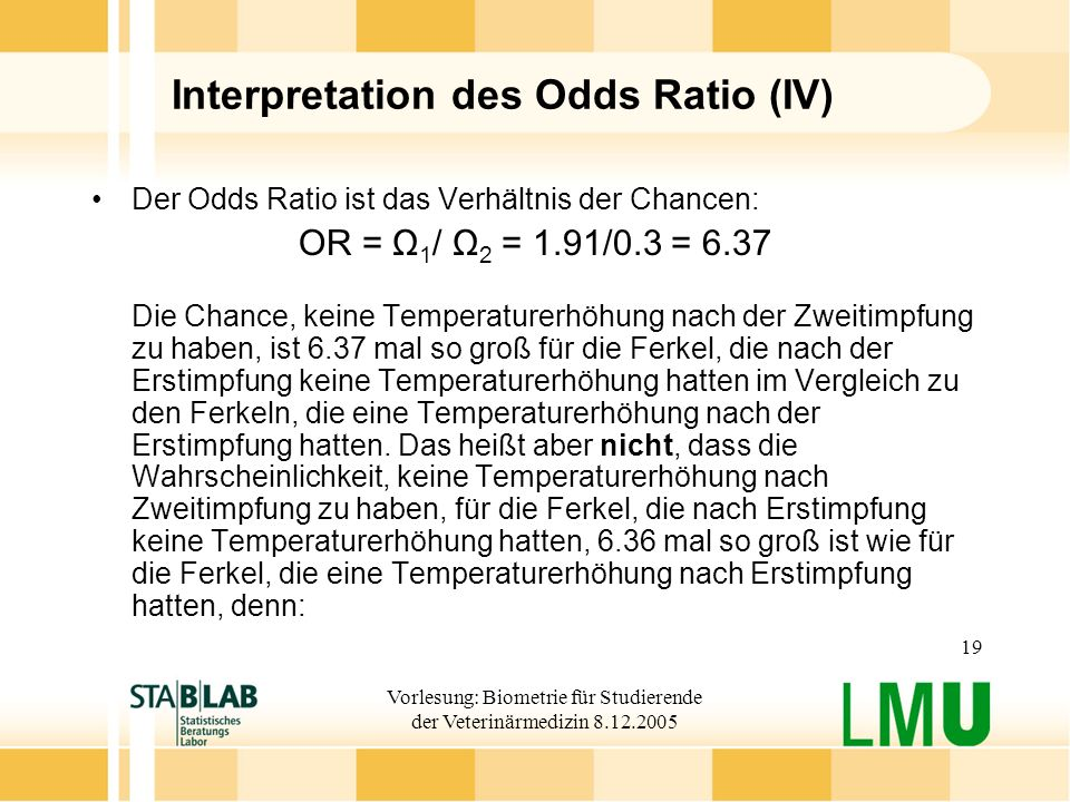 Interpretation des Odds Ratio (IV)