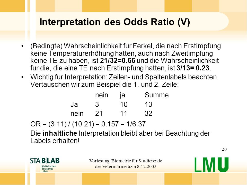 Interpretation des Odds Ratio (V)