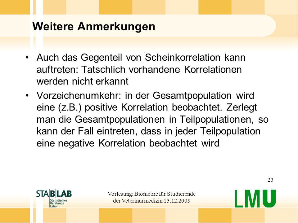 Vorlesung: Biometrie für Studierende der Veterinärmedizin 15.12.2005