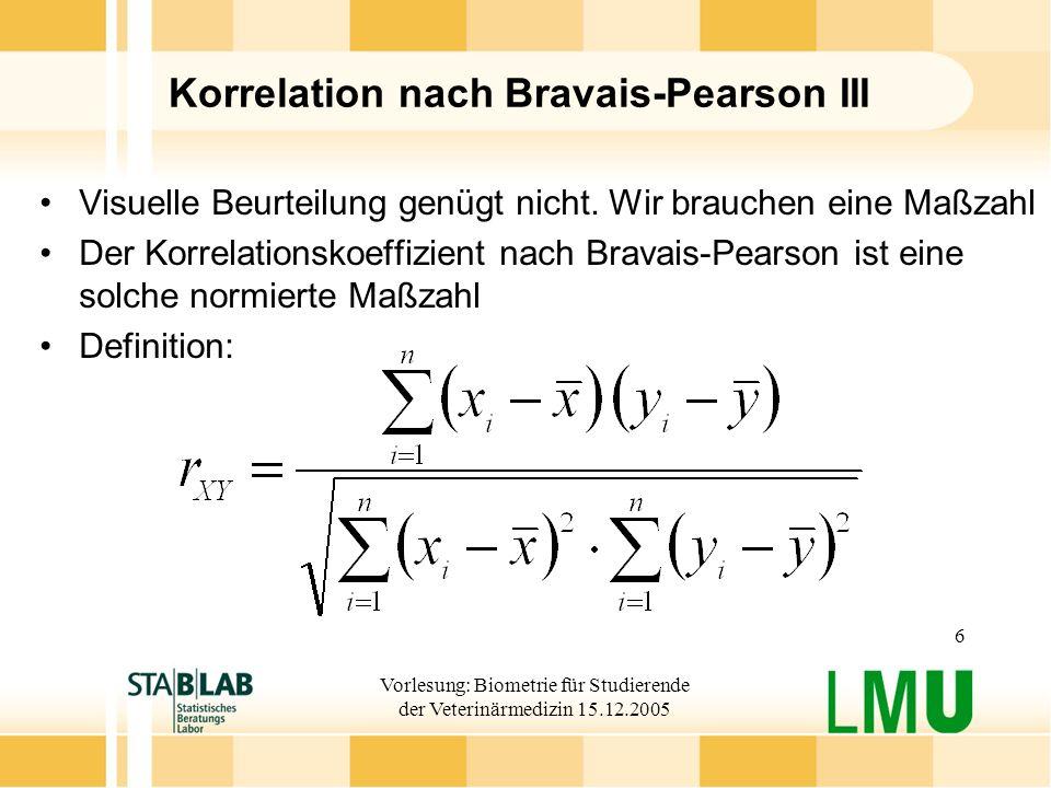Korrelation nach Bravais-Pearson III
