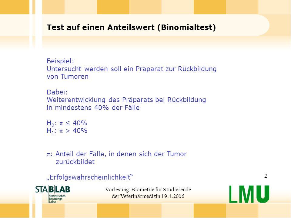 Test auf einen Anteilswert (Binomialtest)