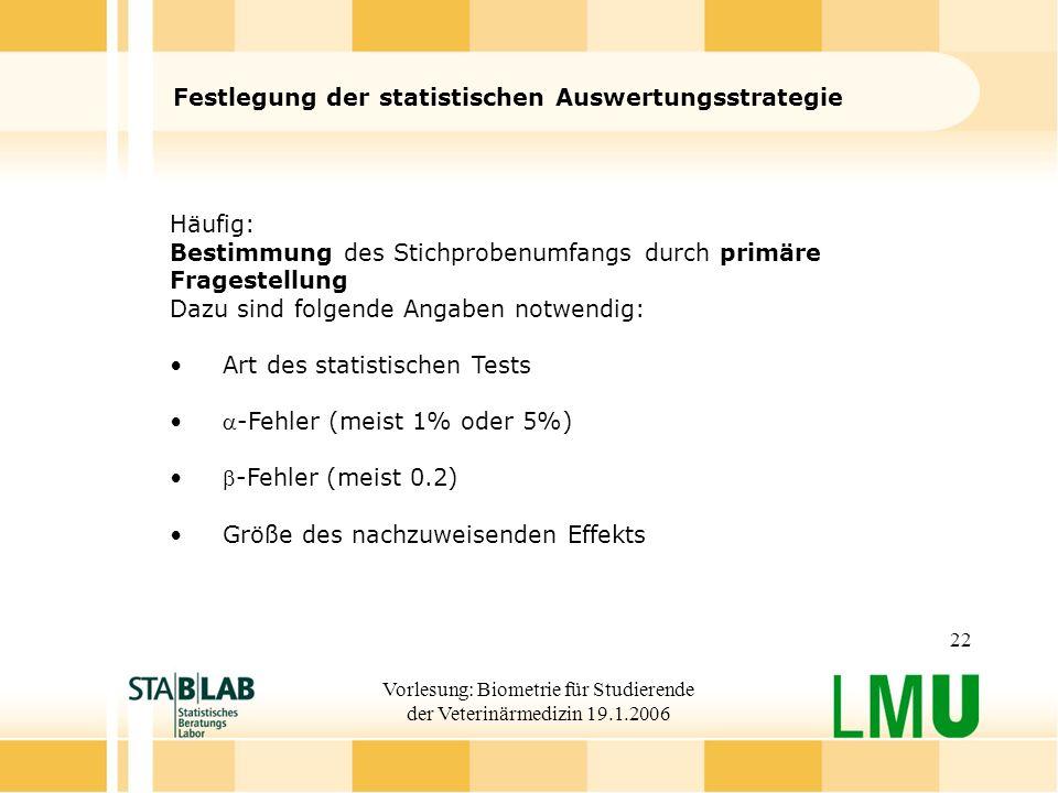 Festlegung der statistischen Auswertungsstrategie