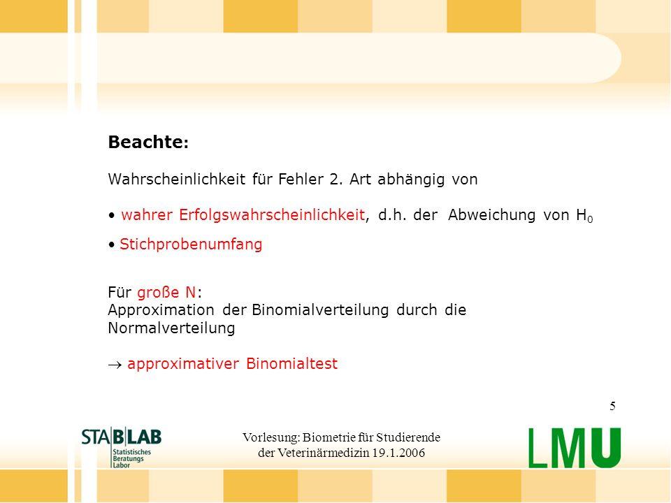 Vorlesung: Biometrie für Studierende der Veterinärmedizin 19.1.2006