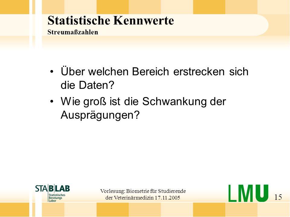 Statistische Kennwerte Streumaßzahlen