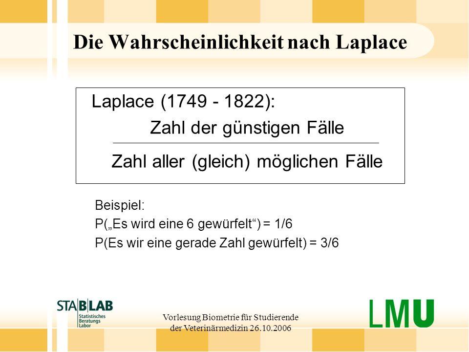 Die Wahrscheinlichkeit nach Laplace
