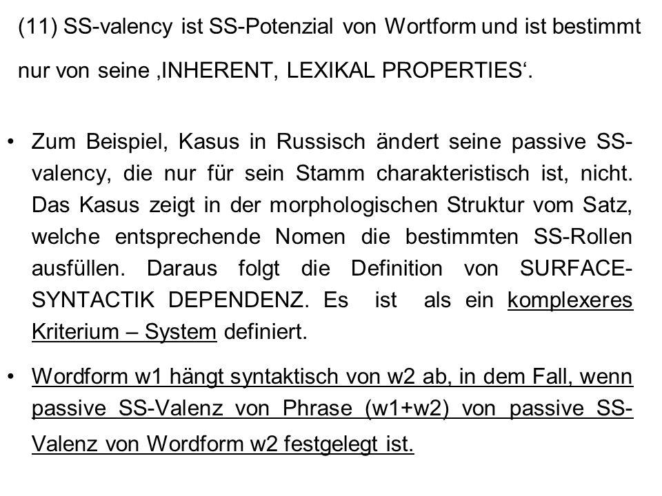 (11) SS-valency ist SS-Potenzial von Wortform und ist bestimmt nur von seine 'INHERENT, LEXIKAL PROPERTIES'.