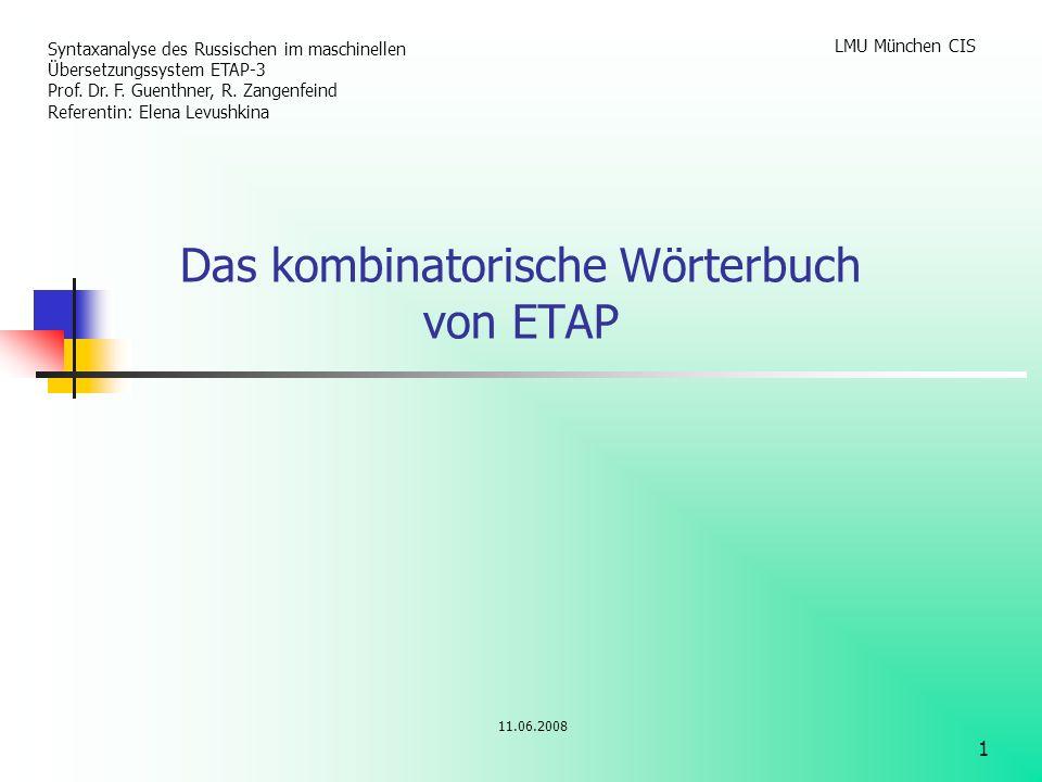 Das kombinatorische Wörterbuch von ETAP