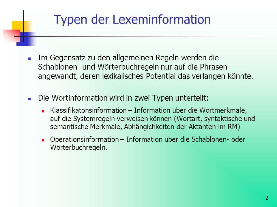 Typen der Lexeminformation