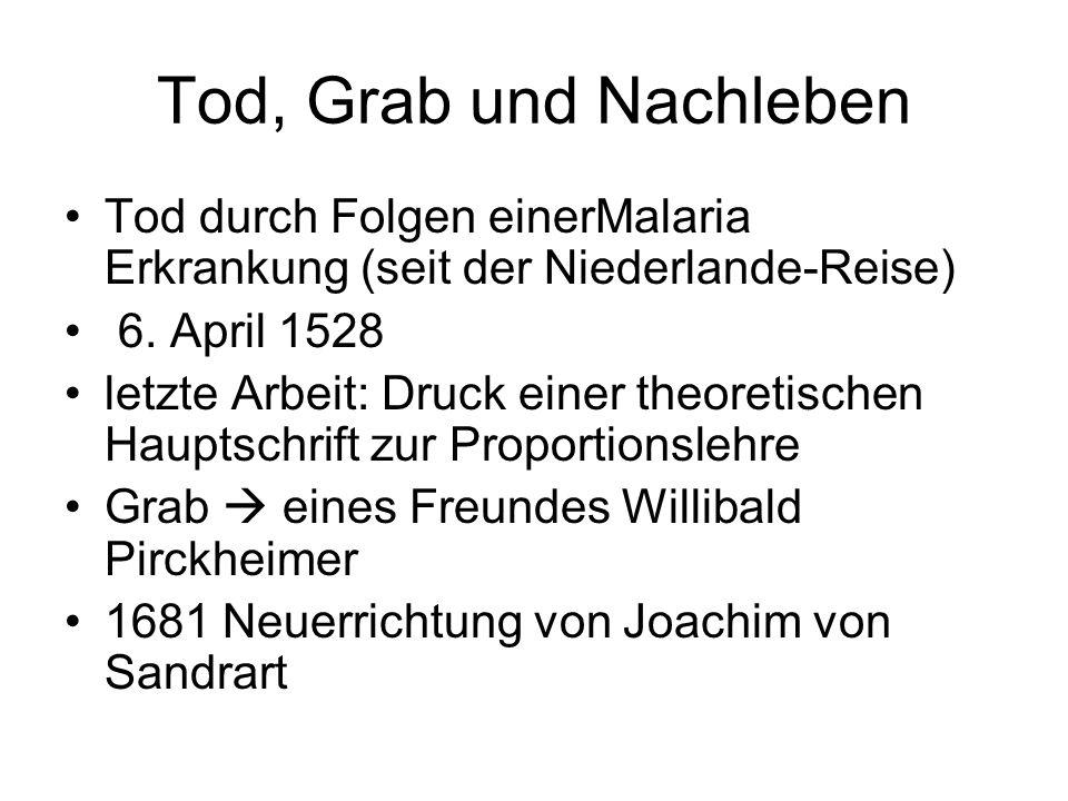 Tod, Grab und Nachleben Tod durch Folgen einerMalaria Erkrankung (seit der Niederlande-Reise) 6. April 1528.