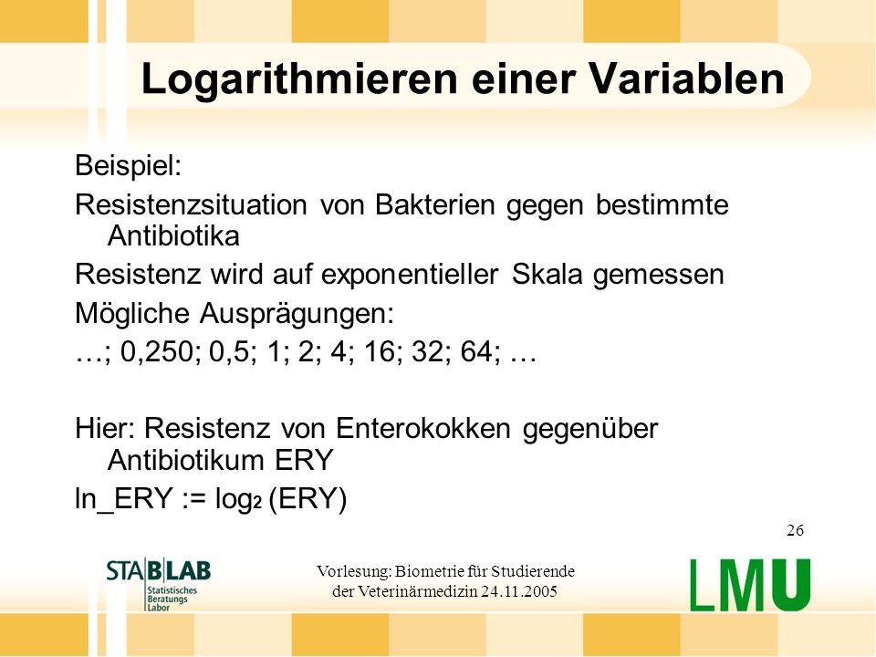 Logarithmieren einer Variablen
