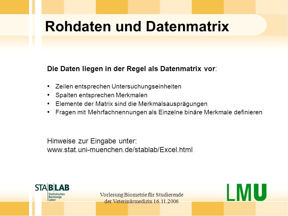 Rohdaten und Datenmatrix