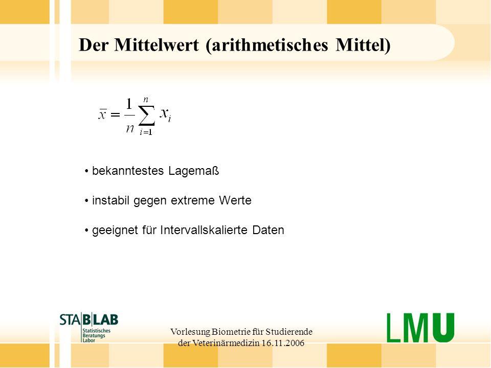 Der Mittelwert (arithmetisches Mittel)