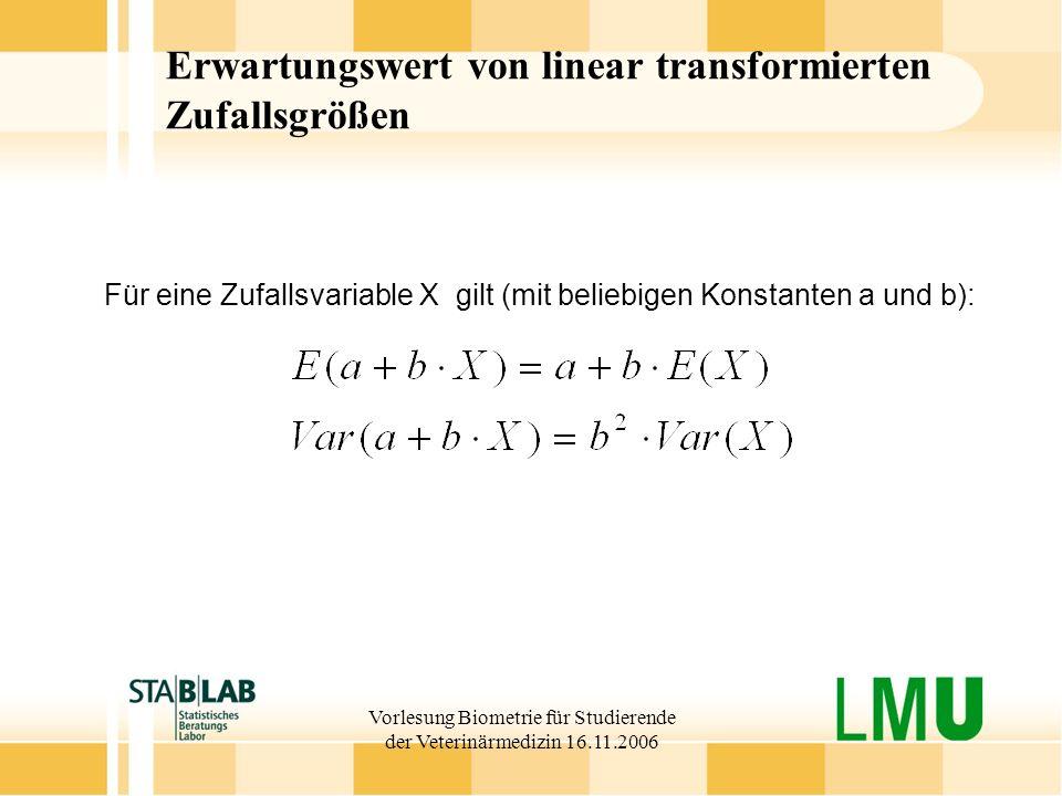 Erwartungswert von linear transformierten Zufallsgrößen