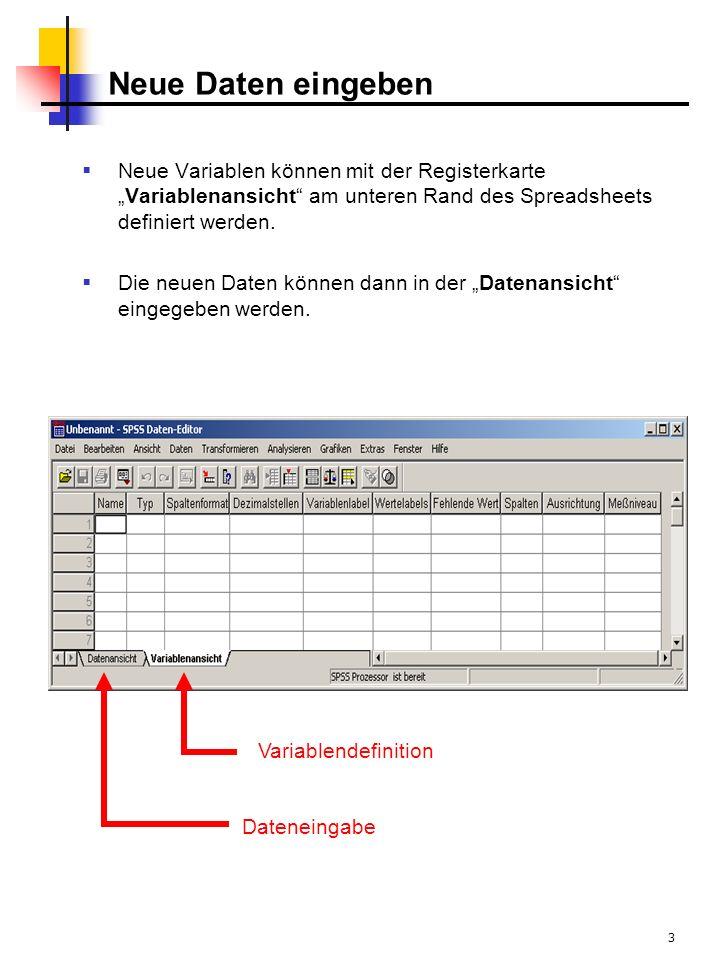 """Neue Daten eingeben Neue Variablen können mit der Registerkarte """"Variablenansicht am unteren Rand des Spreadsheets definiert werden."""